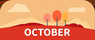 שלושה עצים הרים ועננים באוקטובר