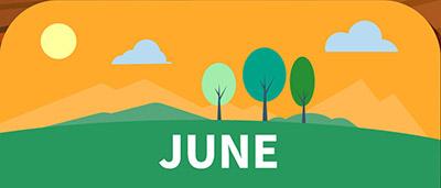 ציור של עצים עננים ושמש ביום קיצי ביוני