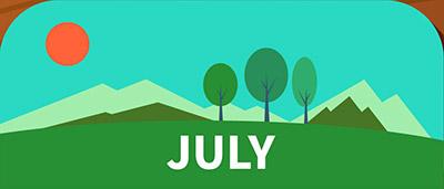 שלושה עצים הרים ושמש כתומה ביולי