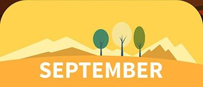 ציור של שלושה עצים והרים משוננים על רקע צהוב בספטמבר