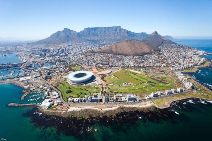מבט מלמעלה על קיפפפטאון בדרום אפריקה