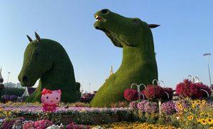 פסלי סוסים מצמחיה בגן הפרחים בדובאי