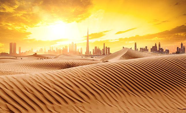 Dubai skyline View from the desert